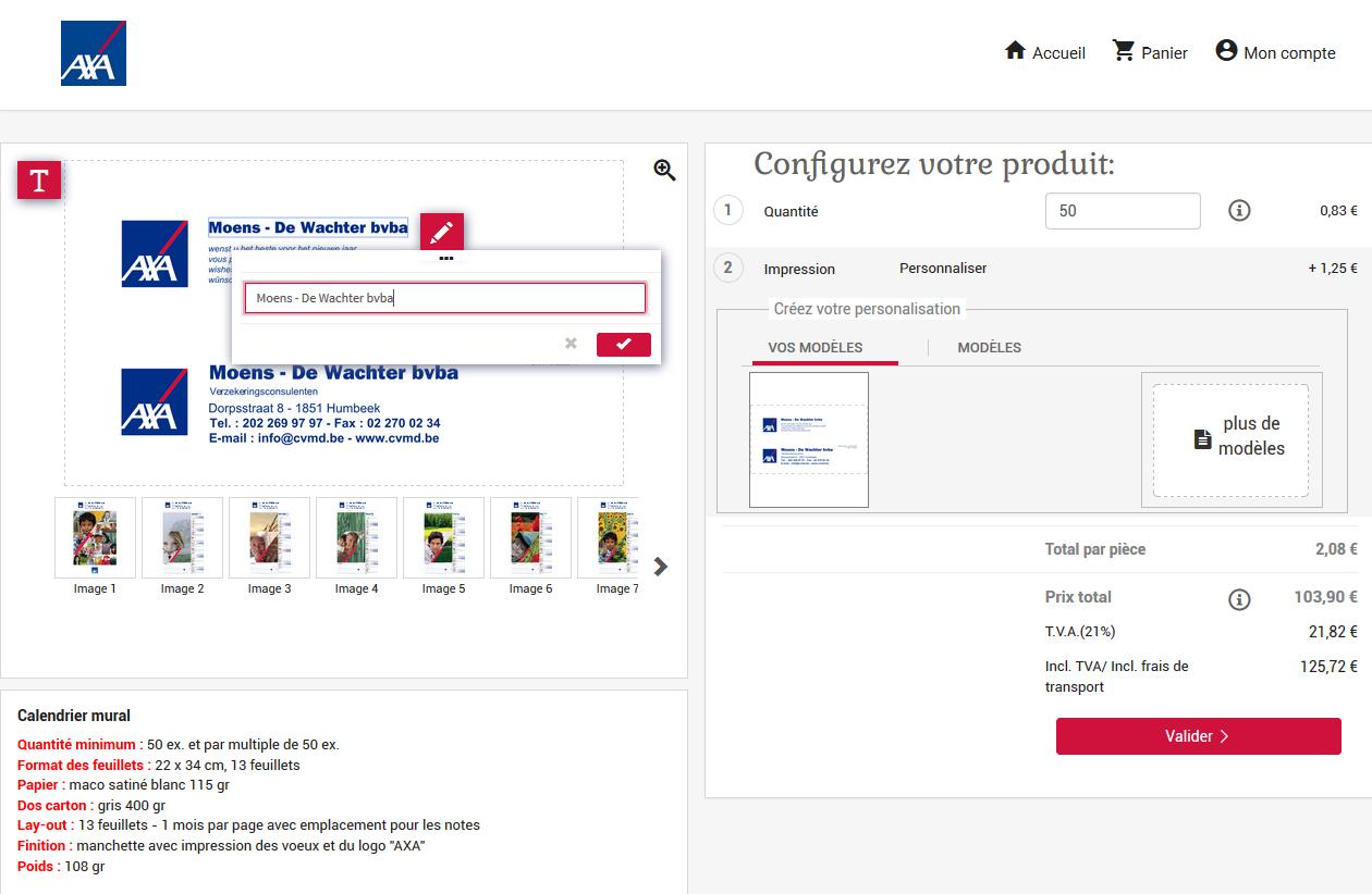Webshop BtoB produits personnalisables